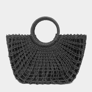 Straw Tote Bag with Round Handle